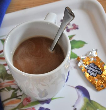 Coffee with Melted Cadbury Creme Egg 