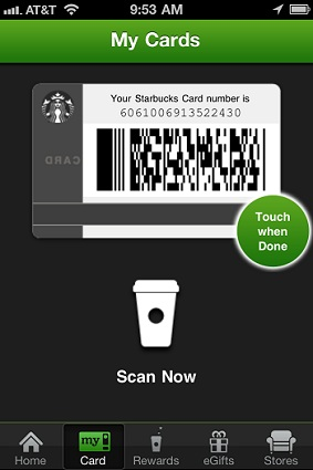 Jonathan Stark's starbucks card
