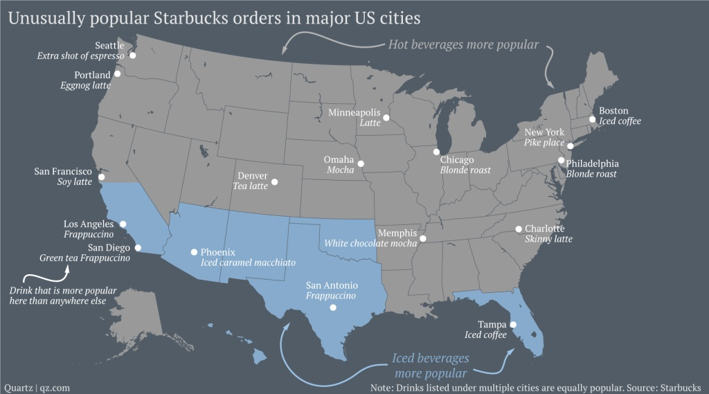 Most Popular Starbucks Drinks from Around the Country
